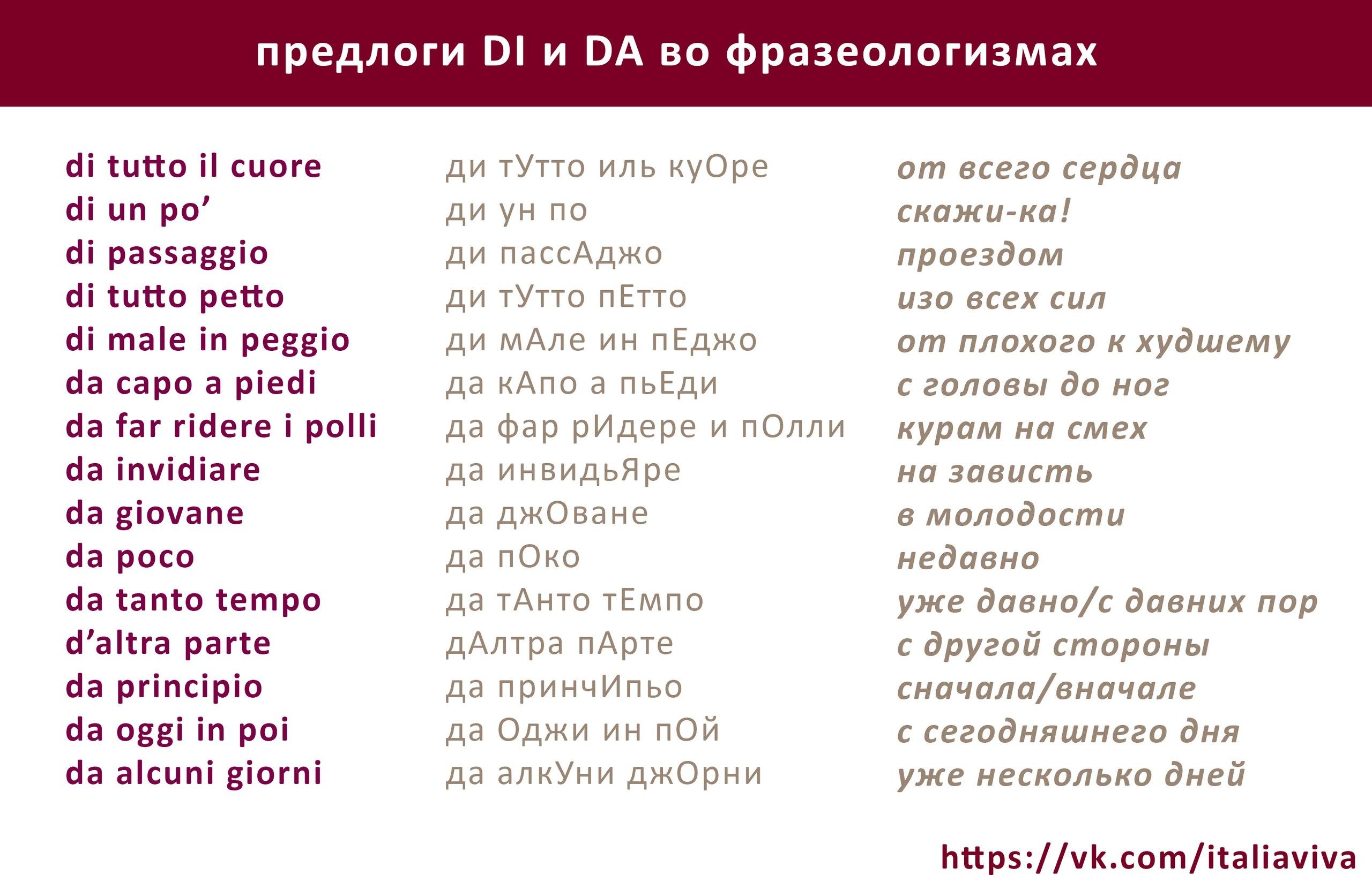 Итальянские глаголы Сводная таблица « Common